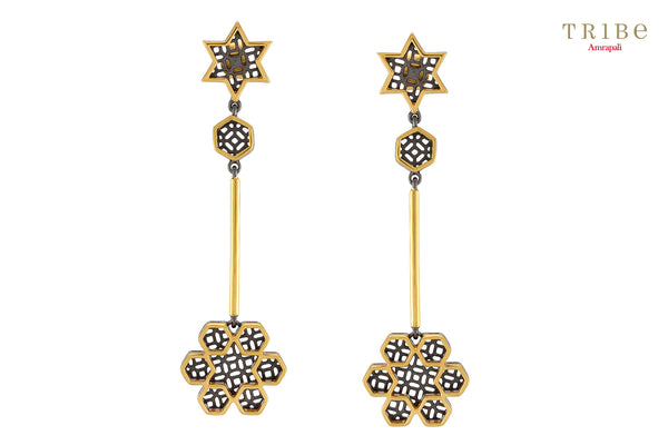 Buy elegant silver gold plated dual tone star flower drop earrings online in USA by Tribe Amrapali. The earrings are a unique jewelry piece to add a spark to your look. If you want to shop such ethnic Indian silver gold plated jewelry in USA, then look no further than Pure Elegance exclusive fashion store.-full view