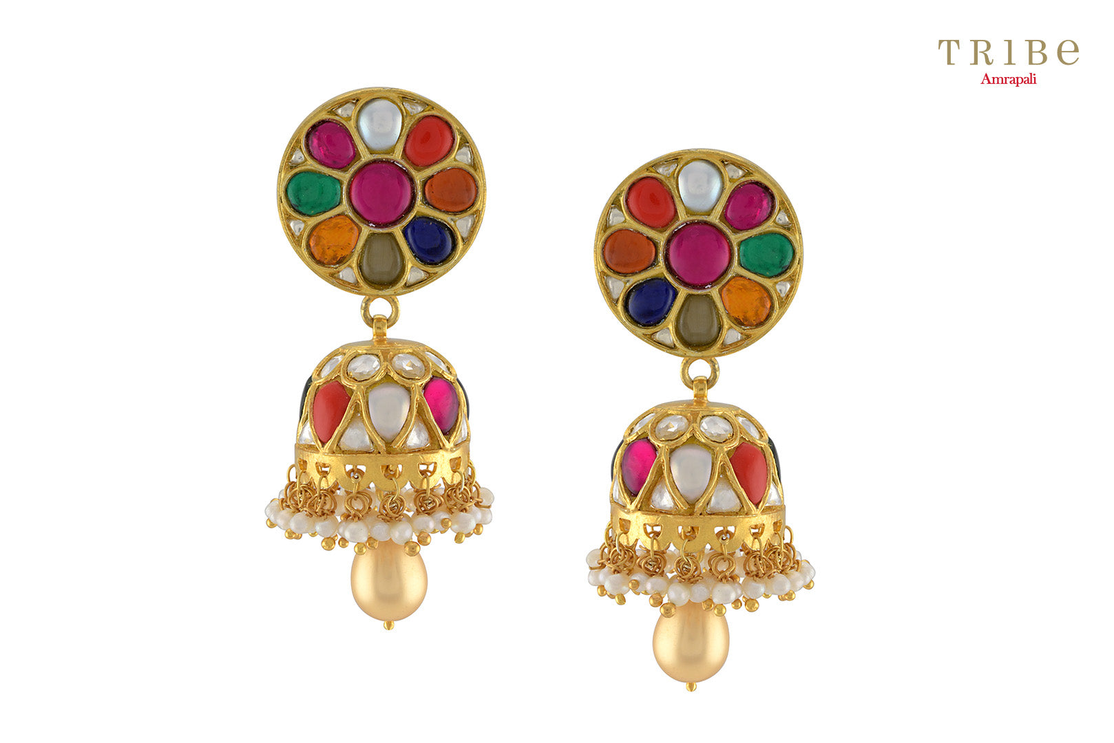 Traditional  Tribe Amrapali silver gold plated round multicolored jhumki earrings buy online in USA. The earrings are perfect to add a spark to your Indian wedding look. If you want to shop such ethnic Indian silver gold plated jewellery in USA, then look no further than Pure Elegance exclusive fashion store.-full view