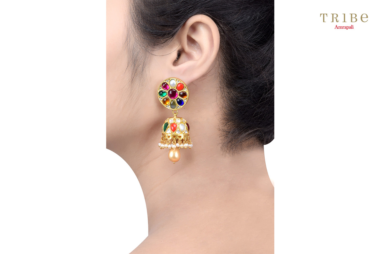 Traditional  Tribe Amrapali silver gold plated round multicolored jhumki earrings buy online in USA. The earrings are perfect to add a spark to your Indian wedding look. If you want to shop such ethnic Indian silver gold plated jewellery in USA, then look no further than Pure Elegance exclusive fashion store.-ear view