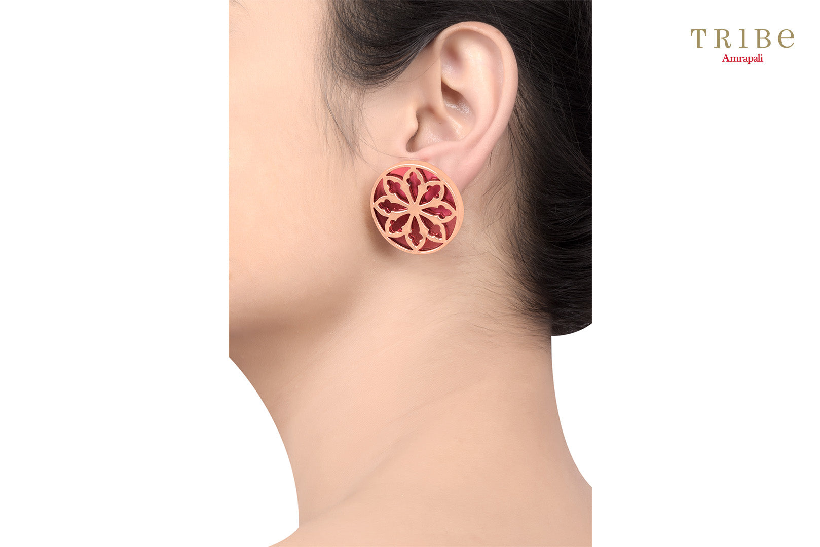 Elegant silver rose gold plated rosette window earrings buy online in USA. The simple earrings are perfect to add a spark to your everyday Indian look. If you want to shop such ethnic Indian jewelry in USA, then look no further than Pure Elegance exclusive fashion store or shop online.-ear view