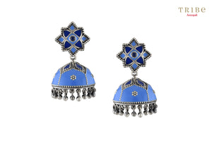 Beautiful Tribe Amrapali floral rawa bead droplet lapis enameled silver jhumki earrings buy online in USA.  If you want to shop such ethnic Indian silver earrings in USA, then look no further than Pure Elegance exclusive fashion store or shop online.-full view