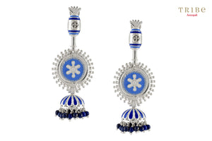 Beautiful Tribe Amrapali floral rawa lapis enameled silver jhumki earrings buy online in USA.  If you want to shop such ethnic Indian silver jewelry in USA, then look no further than Pure Elegance exclusive fashion store or shop online.-full view