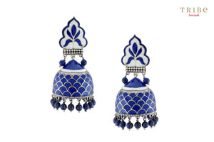 Ethnic Tribe Amrapali lapis rawa drop enameled dome silver jhumki earrings buy online in USA.  If you want to shop such ethnic Indian silver jewelry in USA, then look no further than Pure Elegance exclusive fashion store or shop online.-full view