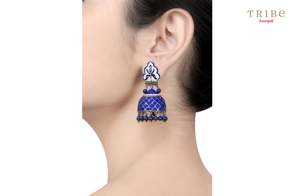 Ethnic Tribe Amrapali lapis rawa drop enameled dome silver jhumki earrings buy online in USA.  If you want to shop such ethnic Indian silver jewelry in USA, then look no further than Pure Elegance exclusive fashion store or shop online.-ear view