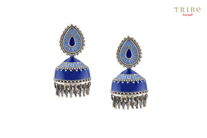Ethnic Tribe Amrapali enameled rhombus charm drop small silver jhumki earrings buy online in USA.  If you want to shop such ethnic Indian silver earrings in USA, then look no further than Pure Elegance exclusive fashion store or shop online.-full view
