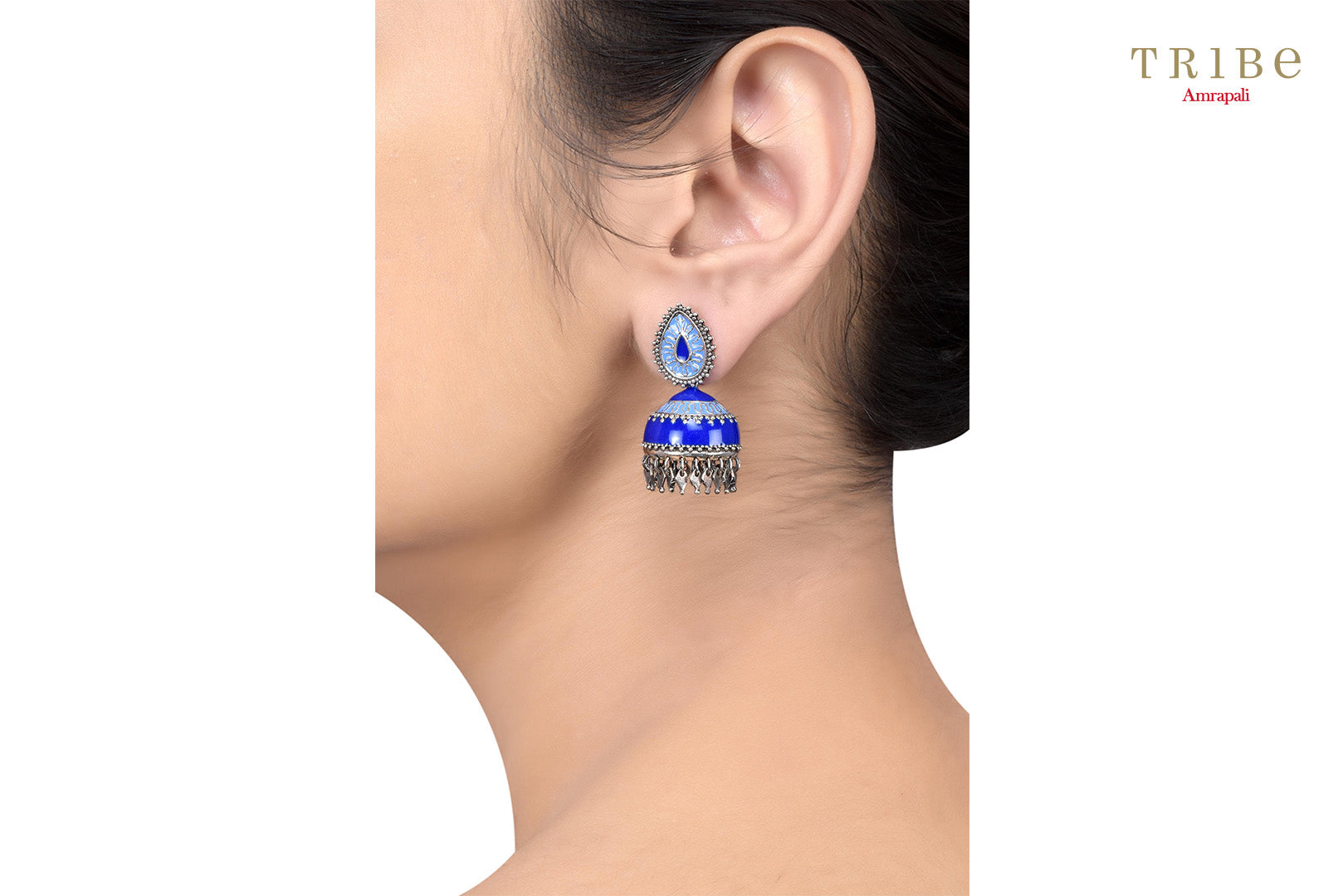 Ethnic Tribe Amrapali enameled rhombus charm drop small silver jhumki earrings buy online in USA.  If you want to shop such ethnic Indian silver earrings in USA, then look no further than Pure Elegance exclusive fashion store or shop online.-ear view