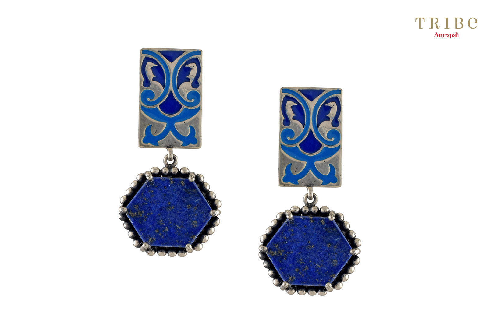 Tribe Amrapali hexagon lapis abstract enamel silver earrings buy online in USA.  If you want to shop such ethnic Indian silver earrings in USA, then look no further than Pure Elegance exclusive fashion store or shop online.-full view