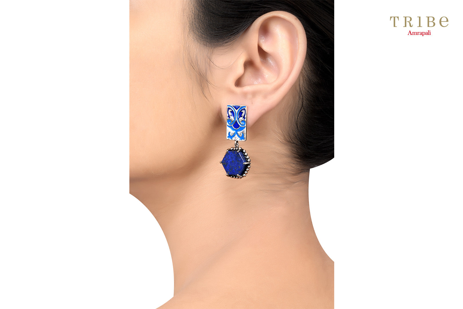 Tribe Amrapali hexagon lapis abstract enamel silver earrings buy online in USA.  If you want to shop such ethnic Indian silver earrings in USA, then look no further than Pure Elegance exclusive fashion store or shop online.-ear view