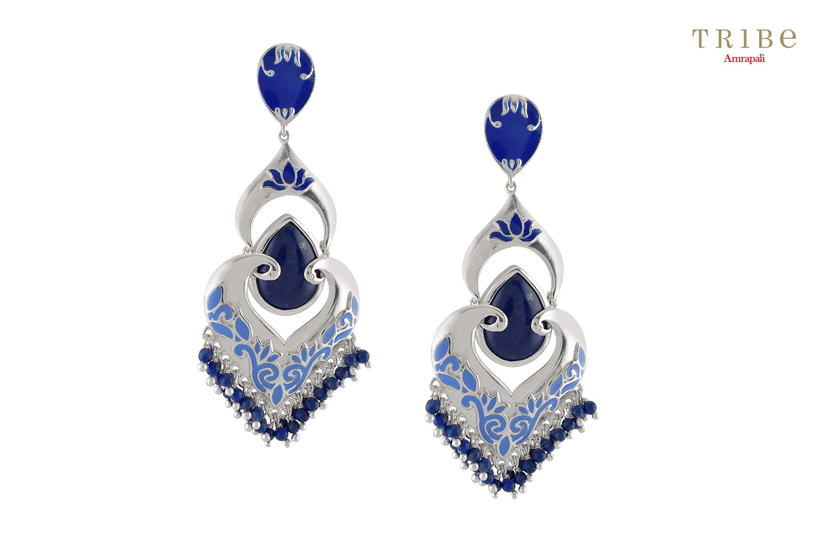 Beautiful Tribe Amrapali lapis studded floral enameled bead hanging silver earrings buy online in USA.  If you want to shop such ethnic Indian silver earrings in USA, then look no further than Pure Elegance exclusive fashion store or shop online.-full view