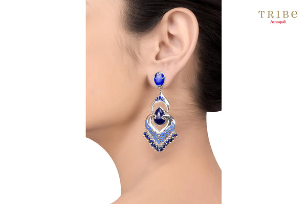 Beautiful Tribe Amrapali lapis studded floral enameled bead hanging silver earrings buy online in USA.  If you want to shop such ethnic Indian silver earrings in USA, then look no further than Pure Elegance exclusive fashion store or shop online.-ear view