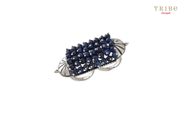 Beautiful Tribe Amrapali lapis fan motif lapis beaded silver ring buy online in USA.  If you want to shop such ethnic Indian silver jewellery in USA, then look no further than Pure Elegance exclusive fashion store or shop online.-full view
