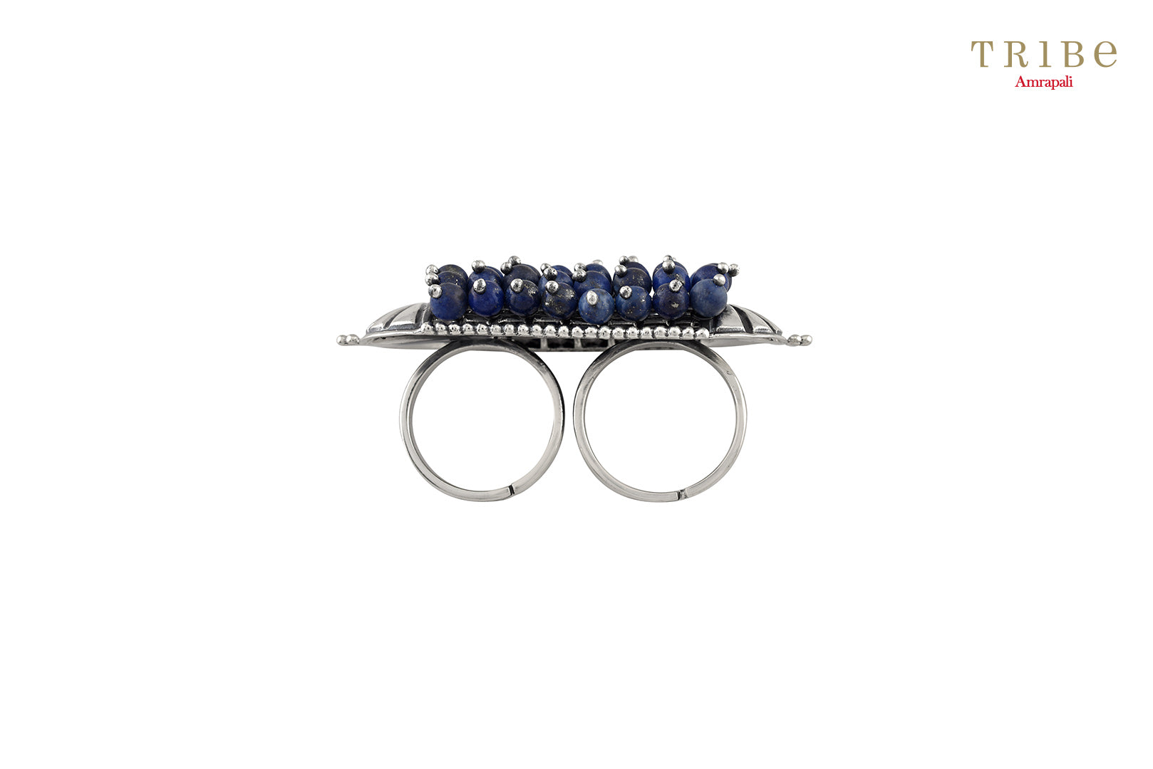 Beautiful Tribe Amrapali lapis fan motif lapis beaded silver ring buy online in USA.  If you want to shop such ethnic Indian silver jewellery in USA, then look no further than Pure Elegance exclusive fashion store or shop online.- side view