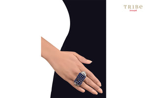Beautiful Tribe Amrapali lapis fan motif lapis beaded silver ring buy online in USA.  If you want to shop such ethnic Indian silver jewellery in USA, then look no further than Pure Elegance exclusive fashion store or shop online.-hand view