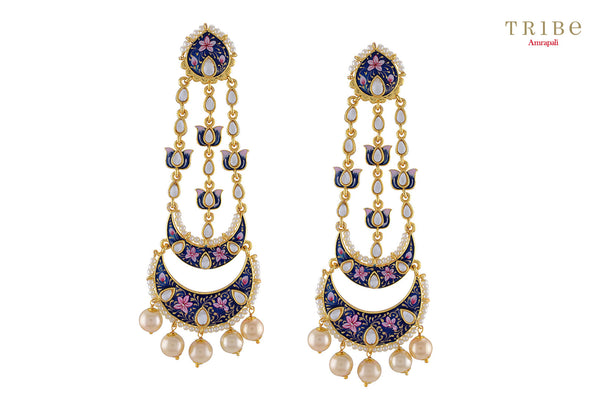 Traditional Tribe Amrapali blue pink enamel lotus pearl moon gold plated earrings buy online in USA.  If you want to shop such ethnic Indian silver gold plated jewelry in USA, then look no further than Pure Elegance exclusive fashion store or shop online.-full view
