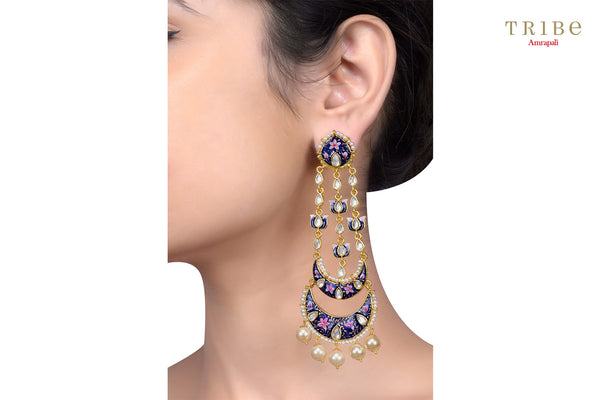 Traditional Tribe Amrapali blue pink enamel lotus pearl moon gold plated earrings buy online in USA.  If you want to shop such ethnic Indian silver gold plated jewelry in USA, then look no further than Pure Elegance exclusive fashion store or shop online.- ear view
