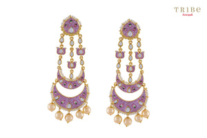 d4b7835bf Traditional Tribe Amrapali pink enamel lotus pearl moon gold plated earrings  buy online in USA.