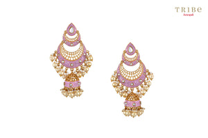 Beautiful gold plated pink double crescent moon jhumka earrings buy online in USA.  Adorn your ears with these absolutely stunning earrings at weddings and special occasions. If you are looking for Indian jewelry in USA, then Pure Elegance clothing store is your one stop solution, shop now.-full view