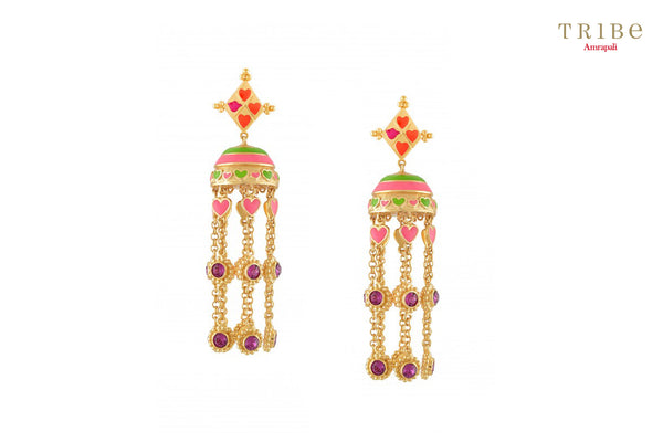 Tribe Amrapali gold plated cameo earrings with tassels buy online in USA.  Adorn your ears with these absolutely alluring earrings at special occasions. If you are looking for Indian jewelry in USA, then Pure Elegance clothing store is your one stop solution, shop now.-full view