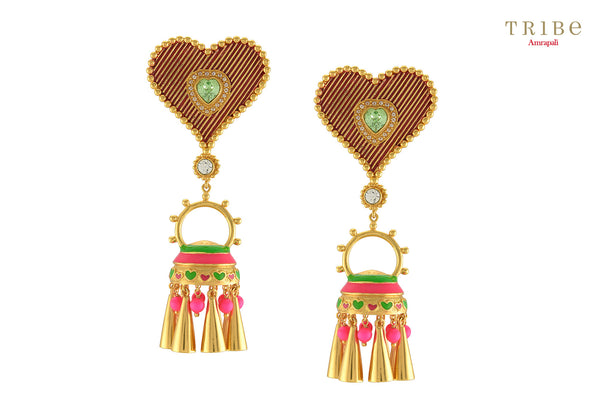 Tribe Amrapali gold plated bright ella earrings buy online in USA.  Adorn your ears with these absolutely unique style earrings at special occasions. If you are looking for Indian earrings in USA, then Pure Elegance clothing store is your one stop solution, shop now.-full view
