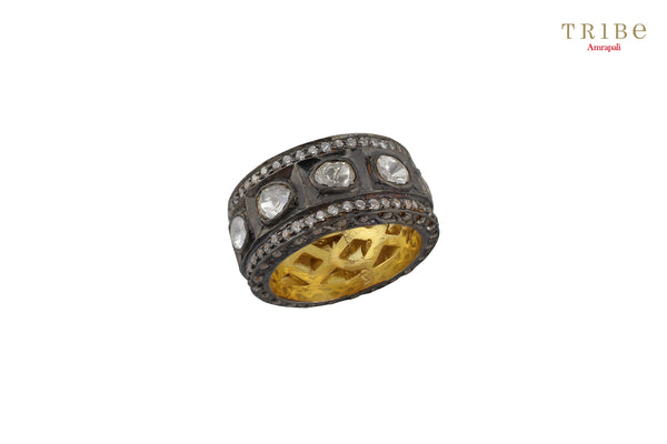 Tribe Amrapali silver oxidised round vintage white glass ring buy online in USA.  Adorn your hands with these absolutely stunning ring at special occasions. If you are looking for Indian jewellery in USA, then Pure Elegance clothing store is your one stop solution, shop now.-full view
