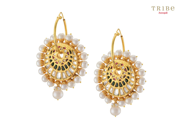 Tribe Amrapali silver gold plated pearl crystal floral hoops buy online in USA.  Adorn your ears with these absolutely stunning earrings at special occasions. If you are looking for Indian silver gold plated jewelry in USA, then Pure Elegance clothing store is your one stop solution, shop now.-full view