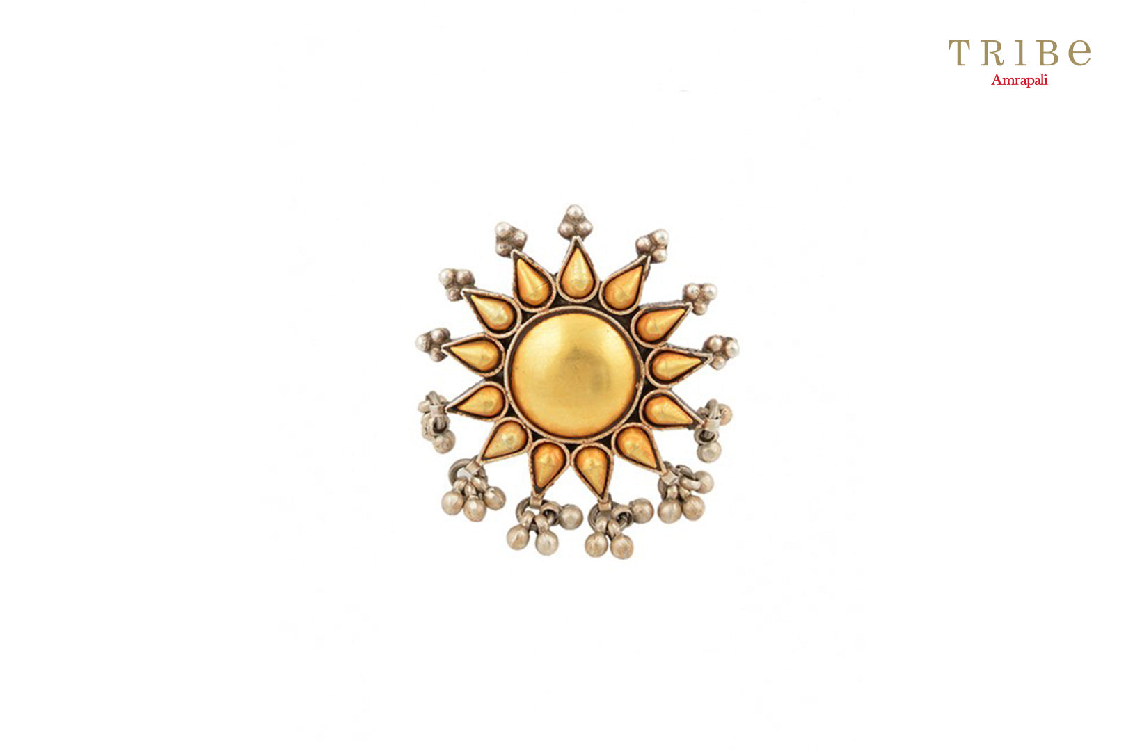 Tribe Amrapali beautiful two tone silver flower ring buy online in USA.  If you are looking for Indian silver gold plated jewelry in USA, then Pure Elegance clothing store is your one stop solution, shop now.-full view