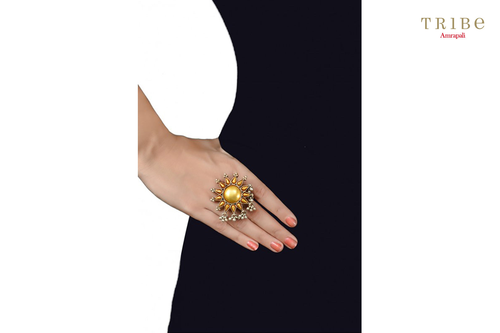 Tribe Amrapali beautiful two tone silver flower ring buy online in USA.  If you are looking for Indian silver gold plated jewelry in USA, then Pure Elegance clothing store is your one stop solution, shop now.-hand view