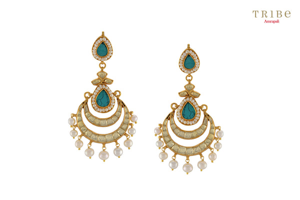 Tribe Amrapali silver turquoise pear pearl drop chandbali earrings buy online in USA.  If you are looking for Indian silver gold plated jewelry in USA, then Pure Elegance clothing store is your one stop solution, shop now.-full view