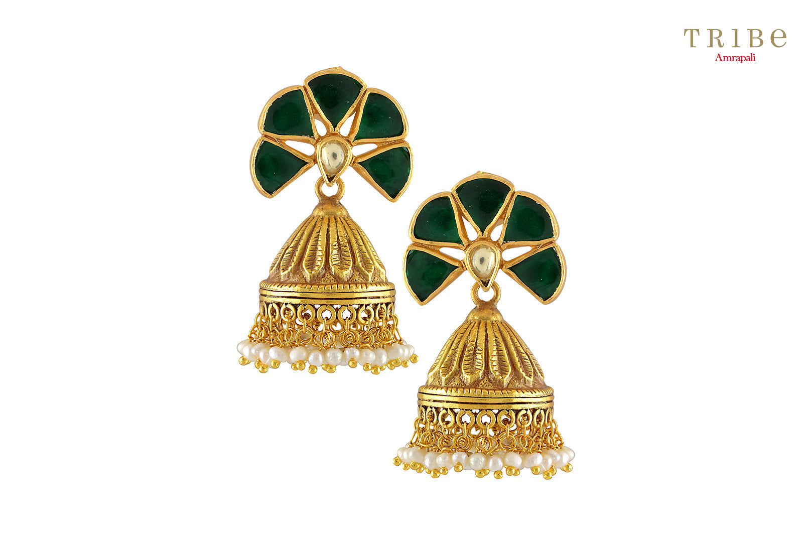Tribe Amrapali silver gold plated green crystal pearl drop fan jhumka earrings buy online in USA.  If you are looking for Indian silver gold plated jewelry in USA, then Pure Elegance clothing store is your one stop solution, shop now.-full view
