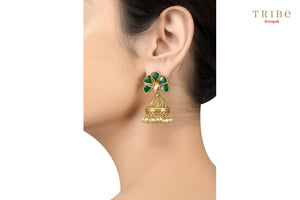Tribe Amrapali silver gold plated green crystal pearl drop fan jhumka earrings buy online in USA.  If you are looking for Indian silver gold plated jewelry in USA, then Pure Elegance clothing store is your one stop solution, shop now.-ear view