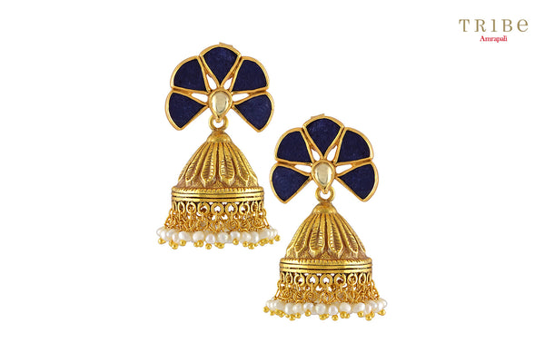 Tribe Amrapali silver gold plated lapis fan textured pearl jhumka earrings buy online in USA.  If you are looking for Indian silver gold plated jewelry in USA, then Pure Elegance clothing store is your one stop solution, shop now.-full view
