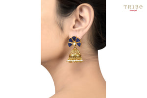 Tribe Amrapali silver gold plated lapis fan textured pearl jhumka earrings buy online in USA.  If you are looking for Indian silver gold plated jewelry in USA, then Pure Elegance clothing store is your one stop solution, shop now.-ear view