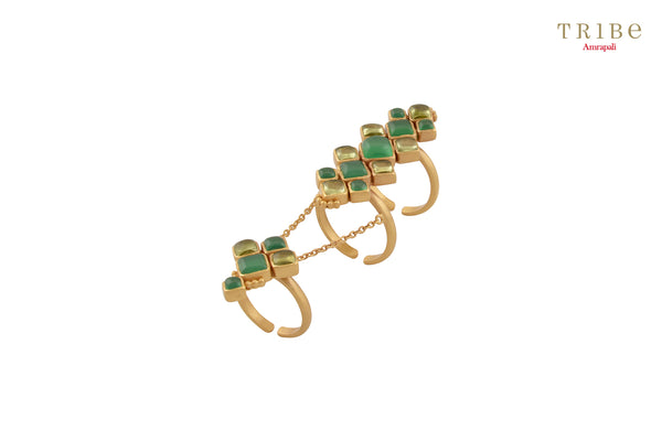 Tribe Amrapali green onyx silver gold plated knuckle ring buy online in USA.  If you are looking for Indian silver gold plated jewelry in USA, then Pure Elegance clothing store is your one stop solution, shop now.-full view