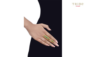 Tribe Amrapali green onyx silver gold plated knuckle ring buy online in USA.  If you are looking for Indian silver gold plated jewelry in USA, then Pure Elegance clothing store is your one stop solution, shop now.-hand view