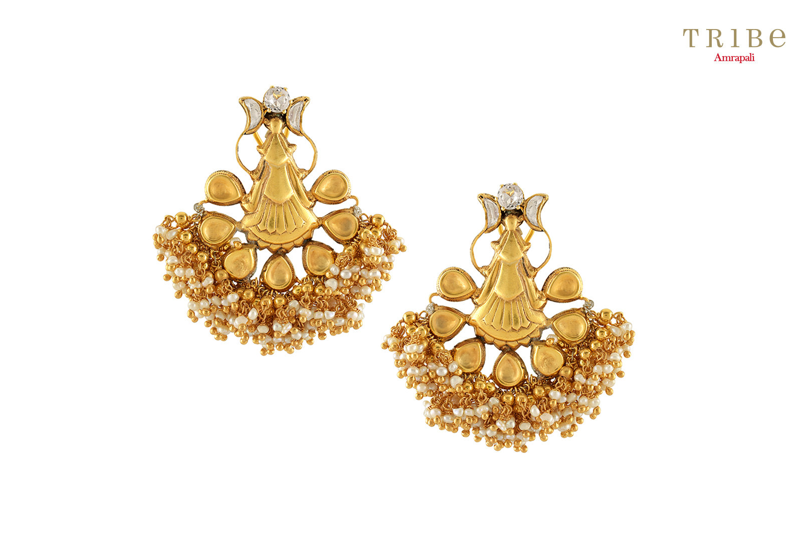 Tribe Amrapali silver gold plated crystal motif pearl cluster earrings buy online in USA.  If you are looking for Indian silver gold plated jewelry in USA, then Pure Elegance clothing store is your one stop solution, shop now.-full view