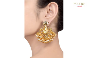 Tribe Amrapali silver gold plated crystal motif pearl cluster earrings buy online in USA.  If you are looking for Indian silver gold plated jewelry in USA, then Pure Elegance clothing store is your one stop solution, shop now.-ear view