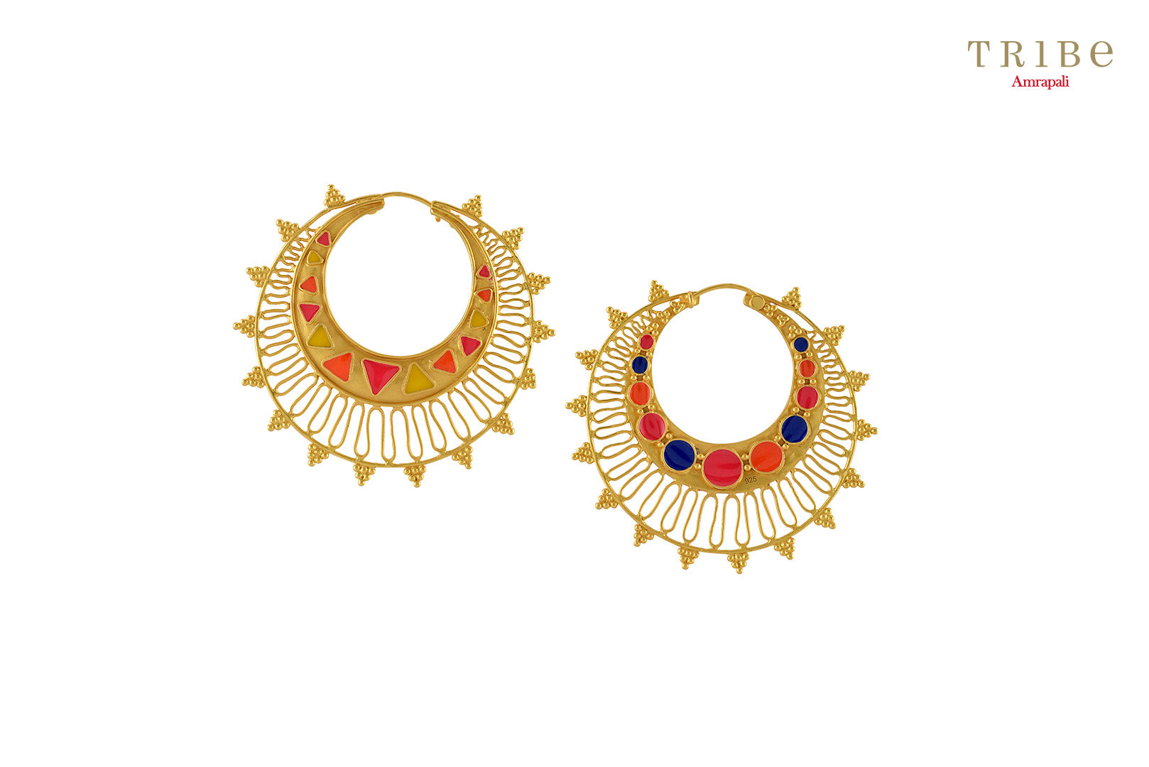 Tribe Amrapali silver gold plated multi colored zig zag rawa hoop earrings buy online in USA.  If you are looking for Indian silver gold plated jewellery in USA, then Pure Elegance clothing store is your one stop solution, shop now.-full view