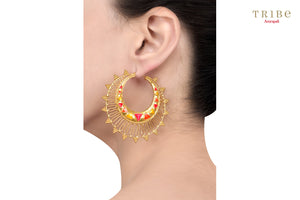 Tribe Amrapali silver gold plated multi colored zig zag rawa hoop earrings buy online in USA.  If you are looking for Indian silver gold plated jewellery in USA, then Pure Elegance clothing store is your one stop solution, shop now.-ear view