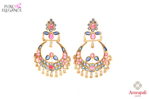 Buy beautiful silver gold plated pink and blue glass chandbali earrings online in USA from Amrapali. The earrings are an alluring match to traditional Indian attires at weddings. Shop more such gorgeous Indian silver gold plated earrings in USA at Pure Elegance, you can visit our exclusive fashion store in USA or shop online.-front look
