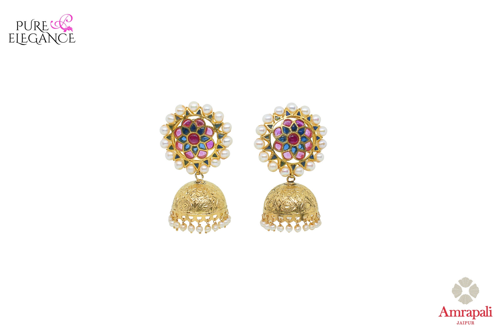 Buy silver gold plated glass jhumki earrings online in USA from Amrapali. Stand out amongst all with these exquisite earrings at weddings and special occasions. Shop more such gorgeous Indian silver gold plated jewellery in USA at Pure Elegance, you can visit our exclusive fashion store in USA or shop online.-front look