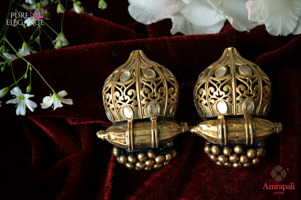 Buy silver gold plated glass earrings with golden beads online in USA from Amrapali. Stand out amongst all with these exquisite earrings at special occasions. Shop more such gorgeous Indian silver gold plated jewelry in USA at Pure Elegance, you can visit our exclusive fashion store in USA or shop online.-flatlay