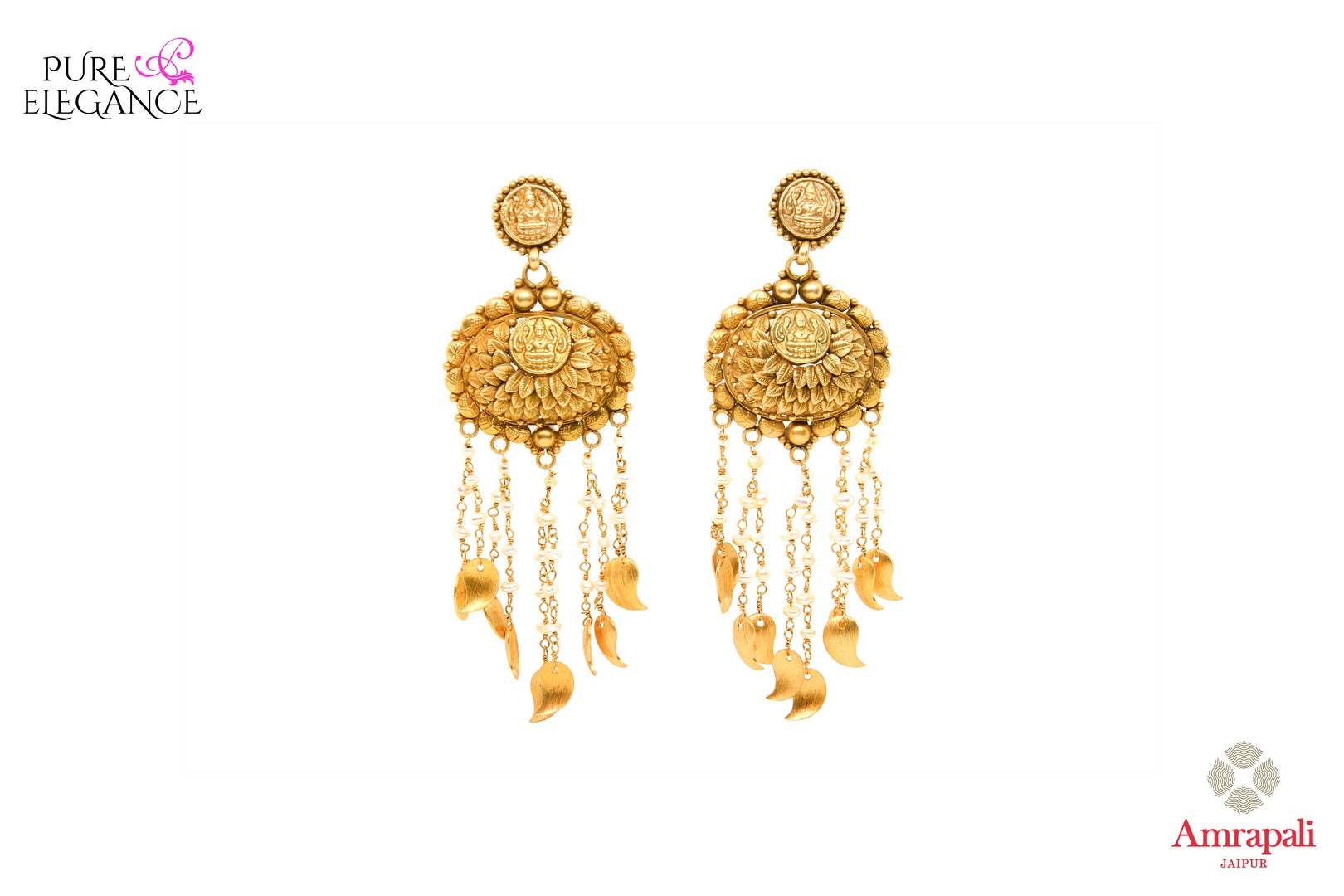 Buy antique silver gold plated earrings online in USA from Amrapali. Add a traditional touch to your Indian look at weddings with these one of a kind earrings. Shop more such gorgeous Indian jewelry in USA at Pure Elegance, you can visit our exclusive fashion store in USA or shop online.-front look
