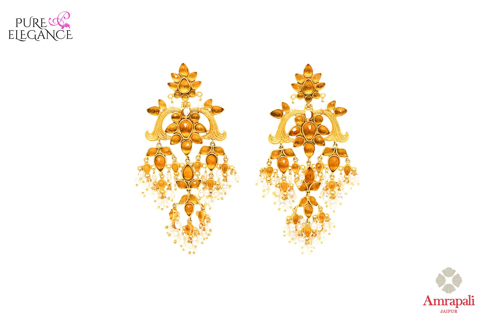 Buy exquisite silver gold plated yellow glass earrings with pearls online in USA from Amrapali. Add a traditional touch to your Indian look at weddings with these one of a kind earrings. Shop more such gorgeous Indian jewelry in USA at Pure Elegance, you can visit our exclusive fashion store in USA or shop online.-front look