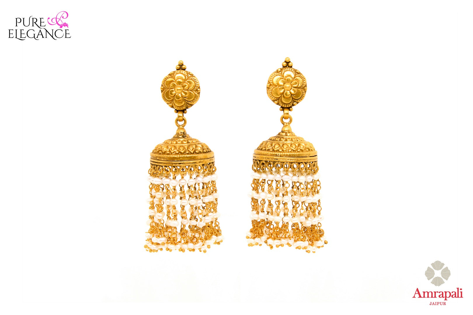Buy ethnic Amrapali silver gold plated earrings online in USA with pearl tassels. Add a unique touch to your Indian look at special occasions with these gorgeous earrings. Shop more such exquisite Indian jewelry in USA at Pure Elegance, you can visit our exclusive fashion store in USA or shop online.-front look