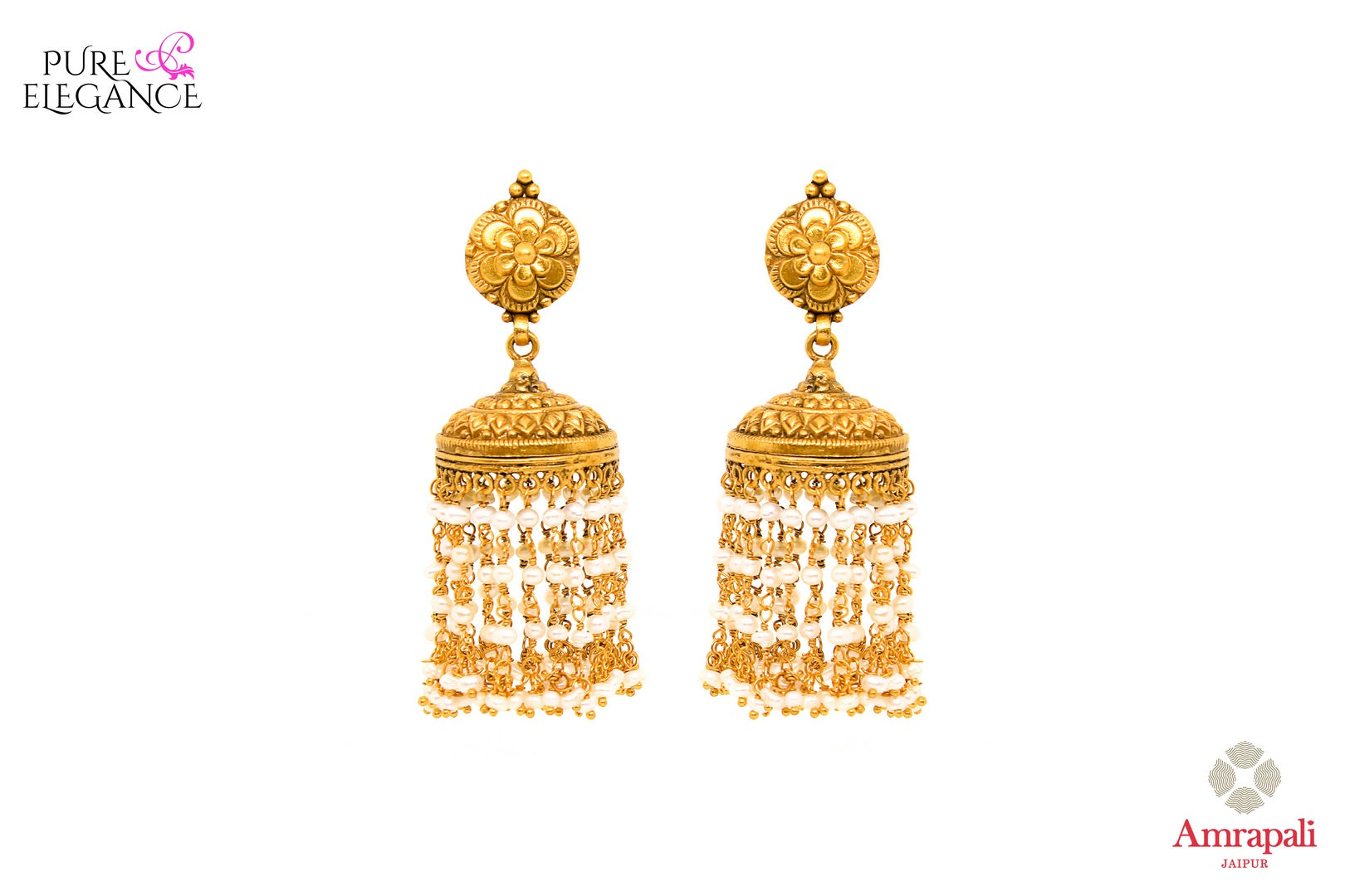 Buy ethnic silver gold plated earrings online in USA with pearl tassels. Add a unique touch to your Indian look at special occasions with these stunning earrings. Shop more such exquisite Amrapali jewelry in USA at Pure Elegance, you can visit our exclusive fashion store in USA or shop online.-front look