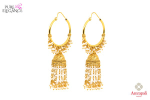 Buy ethnic silver gold plated bali earrings online in USA with pearl tassels. Add a unique touch to your Indian look at special occasions with these alluring earrings. Shop more such exquisite Amrapali jewelry in USA at Pure Elegance, you can visit our exclusive fashion store in USA or shop online.-front look