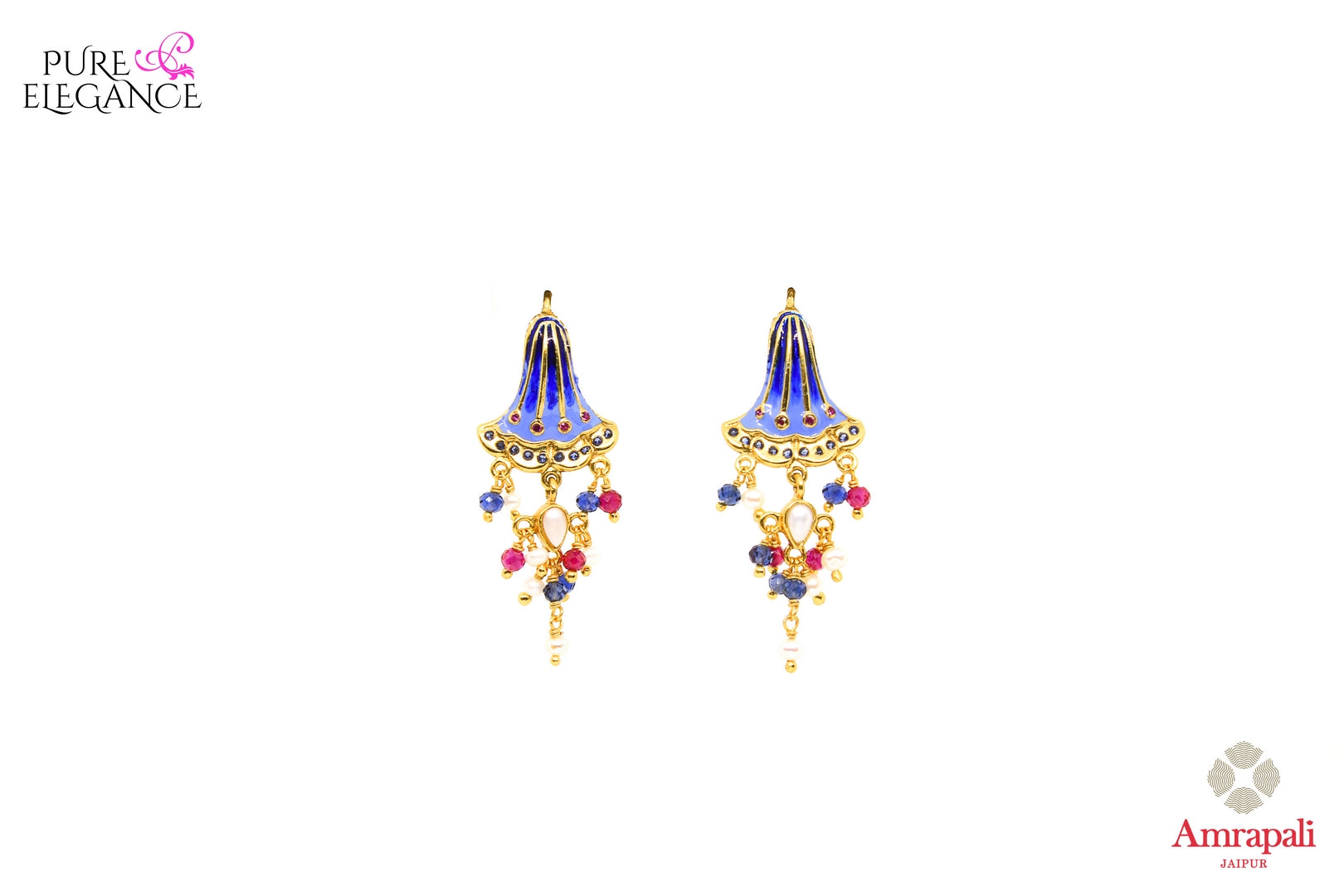 Buy silver gold plated enamel earrings online in USA with colorful beads. Add a unique touch to your Indian look at special occasions with these alluring earrings. Shop more such exquisite Amrapali jewelry in USA at Pure Elegance, you can visit our exclusive fashion store in USA or shop online.-front look