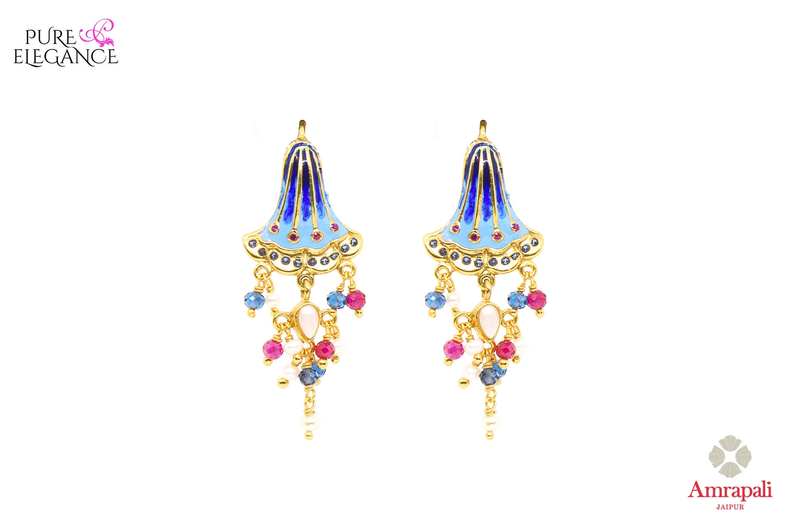 Buy Amrapali silver gold plated enamel blue bell earrings online in USA. If you are looking for Indian jewelry in USA, then Pure Elegance Indian fashion store is the place for you. A whole range of exquisite silver gold plated earrings, necklaces is waiting for you on our shelves, you can also opt to shop online.-front view