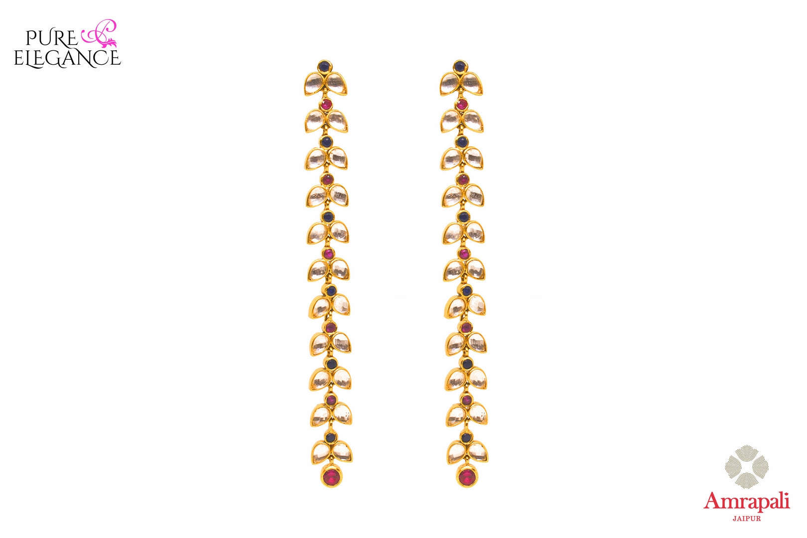 Buy Amrapali silver gold plated leaf string glass earrings online in USA. If you are looking for Indian jewelry in USA, then Pure Elegance Indian fashion store is the place for you. A whole range of exquisite silver gold plated earrings, necklaces is waiting for you on our shelves, you can also opt to shop online.-front view