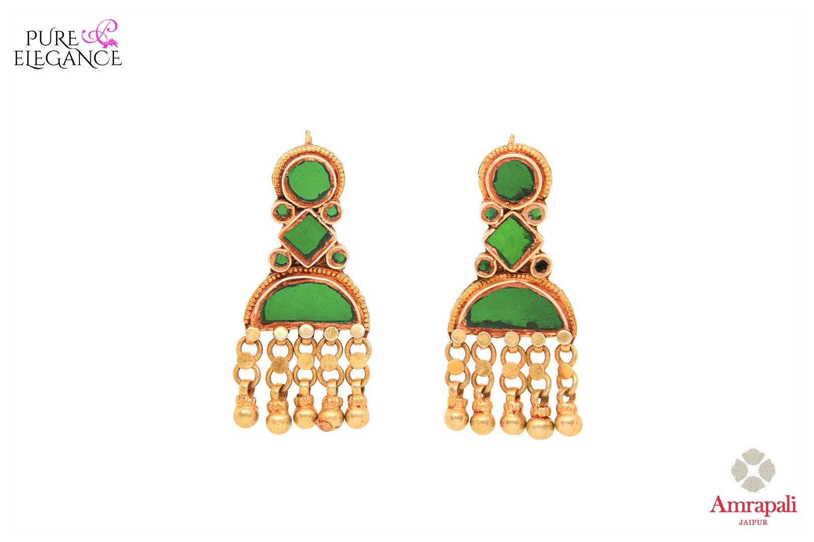 Buy beautiful silver gold plated green glass earrings online in USA from Amrapali. If you are looking for Indian jewellery in USA, then Pure Elegance Indian fashion store is the place for you. A whole range of exquisite silver gold plated earrings, necklaces are waiting for you on our shelves, you can also opt to shop online.-front view